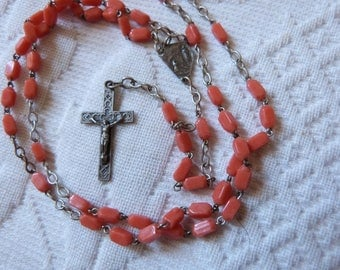 Antique French religious coral glass beaded catholic rosary necklace w cross crucifix corpus Jesus Christ, devotional souvenir Lourdes medal