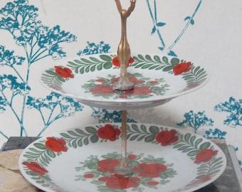 "ETAGERE- Porcelain Cake Stand - Rose Decor  - Seltmann Widen ""Rosengarten"""