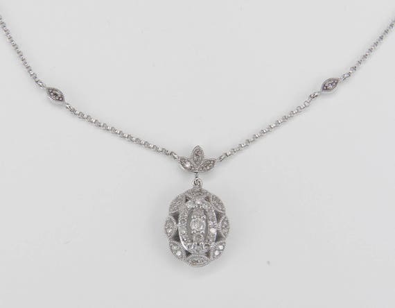 """Diamond Cluster Necklace Pendant 14K White Gold Chain 16"""" Wedding Necklace"""