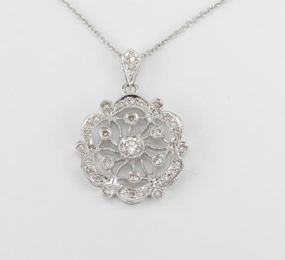 "14K White Gold Diamond Cluster Pendant Snowflake Necklace 18"" Chain"