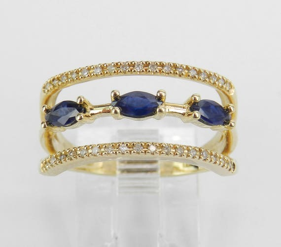 Yellow Gold Diamond and Sapphire Multi Row Band Ring Size 7 September Birthstone