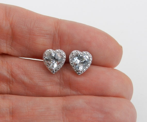 Aquamarine Heart Stud Earrings Aqua Studs White Gold March Birtstone Gemstone