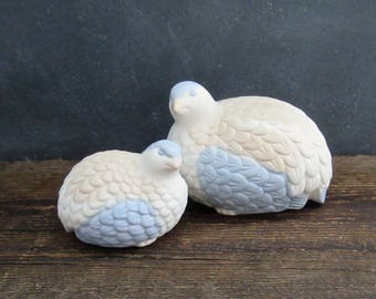 1970's Ceramic Quail Figurines, Pair of Quail Figurines, Ceramic Bird Figurines