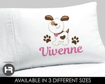 Puppy Dog Pillowcase -  Girls Personalized Pillowcase - Personalized Puppy Pillow case