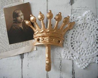 wall hook coat hook chic gold hook jewelry hook crown hook tiara hook nursery decor French country Paris apartment metallic gold