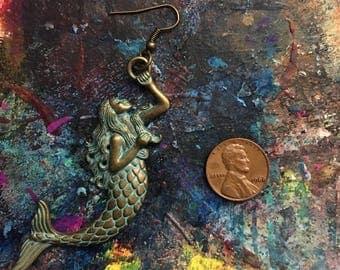 Brass mermaid earrings