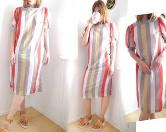 Vintage Sheer Tunic Dress ight stylish striped airy summer dress short puff sleeves Mid length dress cotton Gauze