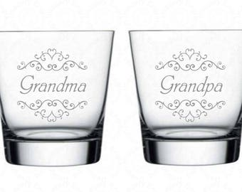 Grandma Grandpa Rocks Glass Set of 2 with Optional Personalization 13.5oz Large Rocks/Scotch Glasses