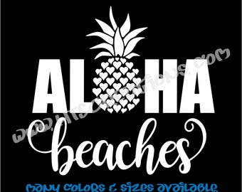 Aloha Beaches Pineapple Hawaii Hawaiian Vinyl Decal Laptop Car Boat Mirror Truck Surfboard Mirror Vanity Beach VALOHABEACHES3