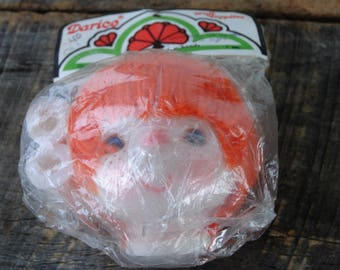 Vintage Darice Large Doll Head with Hands Orange Yarn Hair