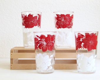Vintage Red and White Flower Beverage Glasses, Set of 4, Drinkware and Barware, 1950s