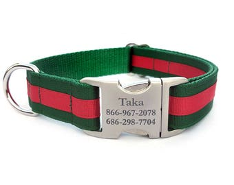 Layered Stripe Laser Engraved Personalized Dog Collar - Forest Green/Red