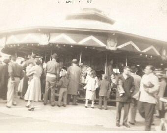 """Vintage Snapshot """"Merry-Go-Round"""" Carousel Circus Carnival Ride Rear Back View Blur Motion Action Found Vernacular Photo"""