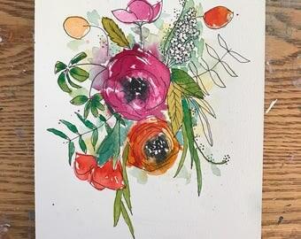 Flower Painting, Original Floral Art, Watercolor Painting, Fine Art, Nature, Modern Art, Garden Floral, Abstract Art, Bohemian