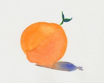 Fruit Art Print, Watercolor Print, Peach, Minimalist Art Print, Modern Art Print, Contemporary Art Print, Square Art