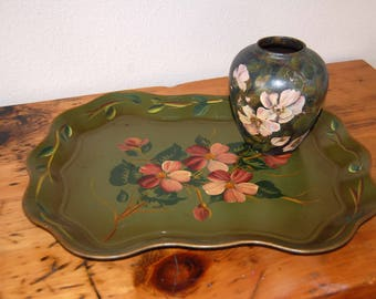 Vintage Tole Tray Vintage Hand Painted Metal Tole Tray Vintage Serving Tray Green Floral Tole Tray from The Eclectic Interior