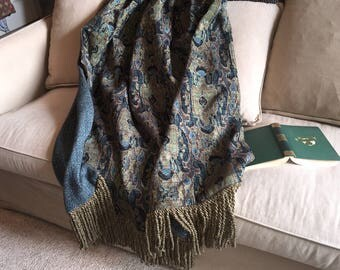 Tribal Ikat, Throw Blanket, Peacock Blue Green, African Rug, Turkish Throws, Ethnic Throw Rug, Decorator Throw Blanket, Luxurious Bedding