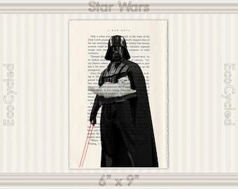 Darth Vader Holds White Super Villain Cat & Lightsaber, Star Wars on Vintage Upcycled Dictionary Art Print, Book Art Print, book lover gift