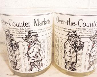 Vintage stock market bar glasses whiskey tumblers bear bull 1971 over the counter,office bar decor black white red