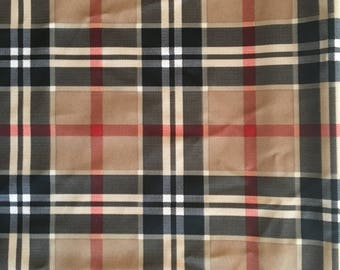 "Brown Plaid Lycra 35"" x 35"""