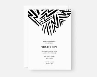 Personalized Housewarming Invitation / Minimalist Party Invite / Bold Graphic Pattern / Black and White / Birthday, Graduation, Engagement