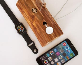Apple Watch and iPhone dock  - iPhone 6 charging station - iPhone 7 docking station - iPhone 7 dock, iPhone 7 plus dock - rustic design