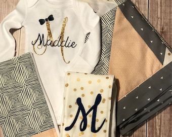 Personalized Girls Baby Blanket,  Matching Onesie with name, Baby Shower Burp Cloths