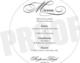 140 round plate menus