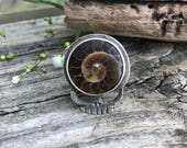 Sterling and Ammonite Steal Your Face Ring Size 8 Grateful Dead Boho Bohemian Jewelry handmade