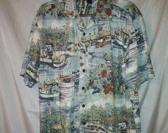 "BIG SUMMER SALE 90s Vintage Aloha Shirt-Hawaiian Style Big Man Mens Hawaii-Resort Beach Cruise Luau Casual Surfer-xL-50"" Chest-1X-"