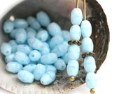 6x4mm Sky Blue rice beads, blue czech glass oval beads, fire polished olive shaped small beads - 50Pc - 0798