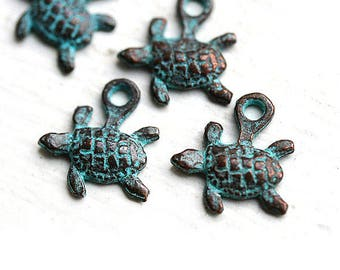 6pc Tiny Turtle charms, small baby turtles, green patina, Greek metal casting beads, metal turtle, nautical beach jewelry - F019