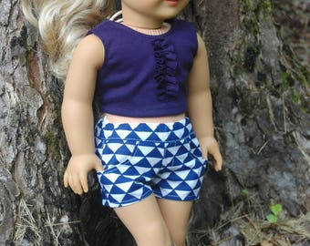SALE-2 piece outfit-fits American Girl Doll clothes/18- inch doll clothes/doll shorts/knit ruffle crop top, Navy Geometric