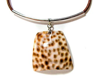Brown and White Shell Pendant on Brown Leather Cord Necklace with Extension Chain #beach  #shell necklace #beach necklace #etsy handmade