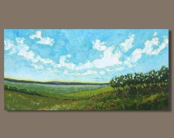 FREE SHIP abstract painting, farm field painting, panoramic painting, pastoral, oblong, green fields landscape painting, impressionist art
