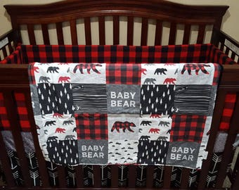 Custom Listing - Baby Bear, Black Arrows, Red Black Buffalo Check, Black, and Gray Crib Coordinates