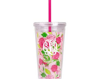 Official Greek Licensed Lilly Pulitzer Delta Zeta Sorority Tumbler Cup Monogram