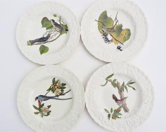 Vintage Alfred Meakin Birds of America National Audubon Society Salad Dessert Plates - Set of 4 Birds of America Salad Plates