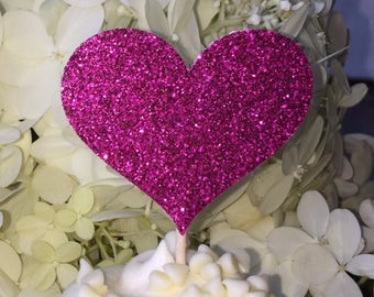 12 Heart Cupcake Toppers Sparkling FUSHIA PINK HEARTS Wedding Cake Decorations Food Picks Appetizers