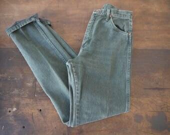 Vintage green Wrangler jeans / Vintage Wrangler Jeans // 80s Green Denim High Waisted Straight Leg Mom Jeans - Medium