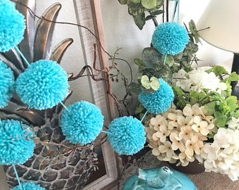 Turquoise Pom Pom Yarn Garland, Birthday Pom Poms, Baby, Bridal, Shower Garland, Birthday, Wedding, Party Decor, Scuba Blue Green 6 Ft.