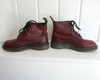 Vintage Oxblood  Brown Dr Doc Martens Lace Up Yellow Stitching 6 Eyelet Classic Leather Boots UK 5 US 7 Womens Made in England