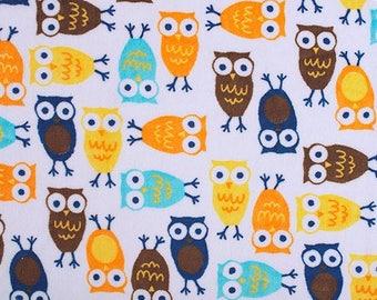 Minky fabric by the yard - Robert Kaufman Night Owls orange and brown - owl minky fabric- one yard