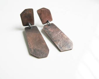 copper earrings,  geometric earrings,  asymmetric earrings, oxidized copper jewelry,  dangle earrings copper, handmade earrings copper
