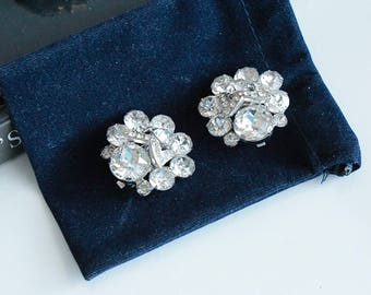 Elegant Eisenberg  Crystal  W pattern    Earrings clip on #