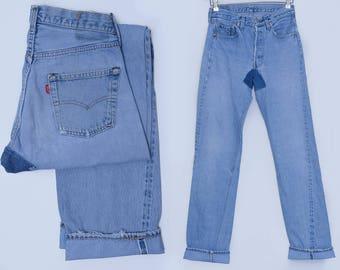 Vintage Levis Redline 501 Black Bar Button Fly Blue Denim Jeans 29 x 37  1
