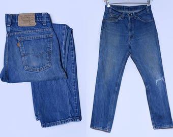 Vintage Levis 517 Perfectly Distressed Denim Orange Tag Blue Jeans 32 x 30