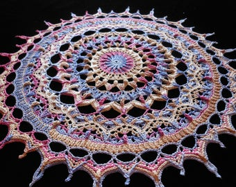 Highly textured multi colored hand crochet thread doily