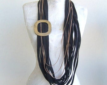 Infinity necklace black/noodle scarf long