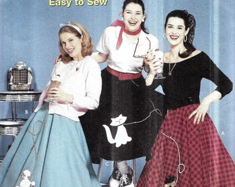 Womens Poodle Skirt Pattern Bobby Soxer Costume 1950s Teenager Halloween